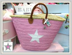 Ibizakorb, Korbtasche, rosa mit Stern, XL von By Mimi auf DaWanda.com