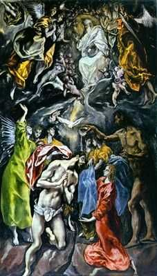 """Baptism of Christ, by El Greco. Per Ro, """"A magnificent Baptism of Christ by El Greco from the Hospital de Tavera in Toledo. The multitude of angels and the presence of God the Father create a mystical ambiance. Spanish Painters, Spanish Artists, Religious Paintings, Religious Art, Renaissance Espagnole, Baptism Of Christ, Baroque Art, Desenho Tattoo, Catholic Art"""