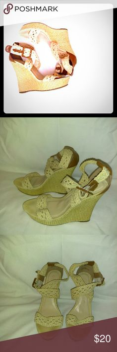 "6"" Platform Espadrille 6"" Platform Espadrilles, gently used, buckles around ankle, cream colored, ** photos of actual product.** Rogue Helium Shoes Espadrilles"