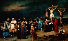 MIHÁLY MUNKÁCSY GOLGOTHA (Mihály Munkácsy was a Hungarian painter, who lived in Paris and earned international reputation with his genre pictures and large scale. Gustave Courbet, Gustave Dore, Anton, Bible Images, Legion Of Honour, Artist Names, Art Boards, One Pic, Photo Art