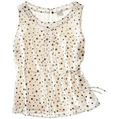 Merona® Womens Sleeveless Pleat Front Top In Polka Dot Print... ($16) ❤ liked on Polyvore featuring tops, sleeveless top, tanks, see through tank tops, cream tank top, polka dot tops, sleeveless tops and sheer tank