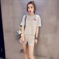 Set: Striped Short Sleeve T-Shirt + Shorts