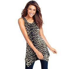 This fun leopard-print top tapers at the waist and features a flared, handkerchief hemline. Stud details at neckline. Tapered at waist to emphasize waistline.FEATURES