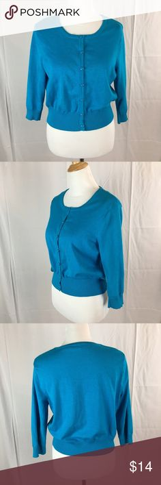 Cato turquoise Button down crop cardigan Size Large, excellent condition Cato Sweaters Cardigans