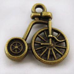 60PCS Vintage Style Bronze Tone Natural Classic Bicycle Pendant Charm 16mm