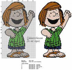 Cartoon Cross Stitch Patterns | Patty Peanuts cartoon character free cross stitch pattern made with ...
