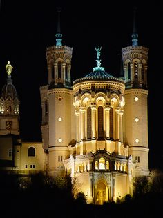 La Basilique Notre-Dame de Fourvière in Lyon, France. It was built between 1872 and 1876 in a neo-Byzantine style and offers a magnificent view over the city. It was designed by architect Pierre Bossan of Lyon, France.