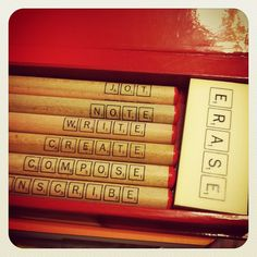 scrabble pencil set from this month's lost crate by sugaroni, via Flickr