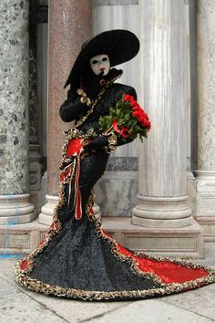 Photo, carnaval de venise, masques, costumes