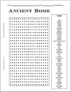 Free Printable Ancient Rome Word Search Puzzle | Grades 7-12
