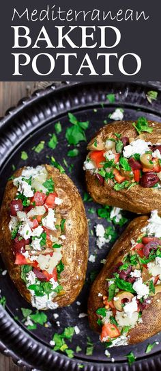 Mediterranean Loaded Baked Potato Recipe | The Mediterranean Dish. Crispy skinned baked potato, so creamy and fluffy on the inside. Topped with Tzatziki sauce, tomatoes, feta, olives and more. A healthier loaded baked potato with tons for flavor! Get the easy recipe on TheMediterraneanDish.com
