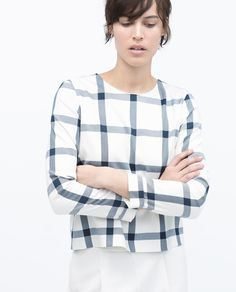 Image 2 of ROUND NECK CHECKED TOP from Zara