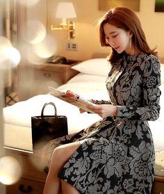 StyleOnme_Jacquard Flare Coat  #coat #flare #dress #jacquard #unique #floral