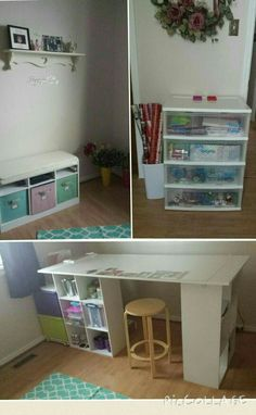 ~My Craft Room So Far; A Small Gift Wrapping Station, A 5ft Long Craft Table,  Made With 2 6 Cube Storage Units From Home Depot (Marth Stewart Brand), ...