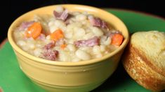 This recipe for a hearty ham white bean soup calls for carrots, celery, onion, bay leaves and mustard powder.