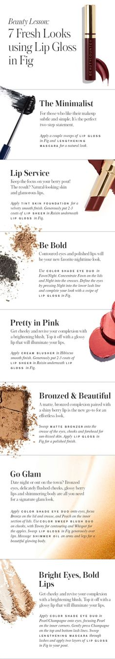 This trend of the moment is taking beauty books by storm: a luscious, berry lip that flatters every skin tone. Make the most of this sleek color trend with our NEW Lip Gloss in Fig. Being on trend doesn't mean that you have to sacrifice quality or safety—we are committed to designing stylish, safer beauty products. beautycounter.com/angelahurst