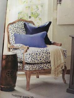 spotted chair with exposed wood legs & trim - Ballard Designs