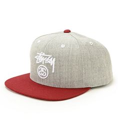 c741ef3fa7f Get two-tone style with this heather grey snapback hat that features a  white Stussy