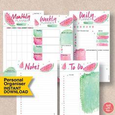 "PERSONAL SIZE Kawaii Watermelon Printable Planner. 3.75"" x 6.75"" organiser. Insert fits Filofax, kikki.K & many more planners. Planner Pack | Planner Pack Products | Planner Pack Etsy | Printable Planner Packs | Printables | Printable Calendar | Daily Planner | Planner Organization Printables."