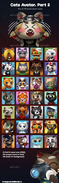 Cats Avatar Part 2 Download link: https://graphicriver.net/item/cats-avatar-part-2/20339136?ref=KlitVogli  Set of 30 hand drawn cats avatar icons. All avatars have transparent background so you can place it on any surface you need – each icon is 512×512 pixels size (PNG). – 30 kinds background – All Icons have transparent background