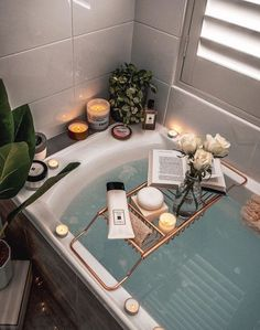 Bath time is essential for women. We can relax and just let our hair down for - Best Decoration My New Room, My Room, Bathtub Caddy, Bathtub Decor, Bathtub Tray, Bath Trays, Bathroom Candles, Deep Bathtub, Bath Candles