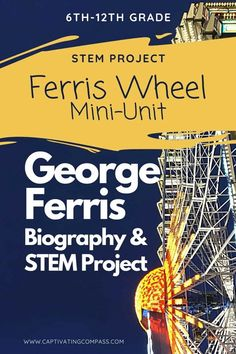 Get ready to have fun learning about the history of the Ferris wheel and the man behind this fun amusement park ride. Before you are finished, you will even have fun having a go at building a Ferris wheel on your own or with a few friends. Physics Lessons, Physics Experiments, Stem For Kids, Science For Kids, Valentine Activities, Science Activities, Math Stem, Amusement Park Rides, Stem Projects