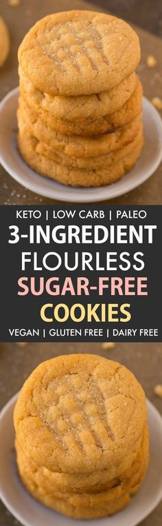 Low Carb Sugar Free Cookies (Keto Flourless Paleo Vegan)- The classic peanut butter cookie gets a healthy and sugar-free makeover- Chewy soft and crispy in one! Sugar Free Cookies, Sugar Free Desserts, Keto Cookies, Sugar Free Recipes, Low Carb Desserts, Low Carb Recipes, Diabetic Desserts, Diabetic Recipes, Sugarless Cookies