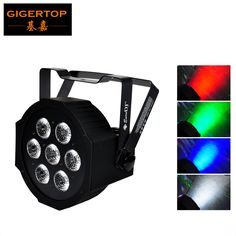 TIPTOP 7x12W RGBW Slim Led Par Light Super Big Lens High Brightness Power in Cable 3Pin DMX IN/OUT Socket Smooth Washer Effect