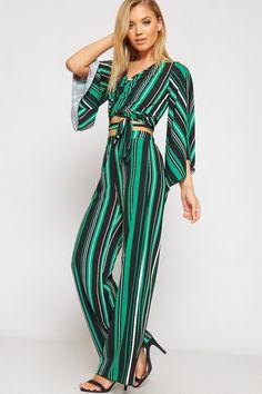 0c9b19830352 Sophia Striped High Waist Flared Palazzo Trousers. WearAll