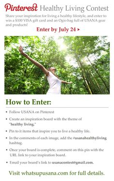 Pin to win in the #usanahealthyliving #Pinterest #contest. I pinned!