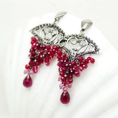 Earrings with pink grapes Jewelry Earrings Agnieszka Cherkasy