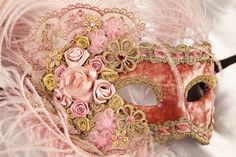 Luxury Masks - Pink Feathered Masks - Victorian Rose
