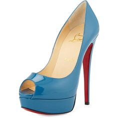 Christian Louboutin Lady Peep Patent Platform Red Sole Pump (€915) ❤ liked on Polyvore featuring shoes, pumps, heels, christian louboutin, sapatos, blue, patent leather pumps, low heel shoes, blue platform pumps and high heel platform pumps