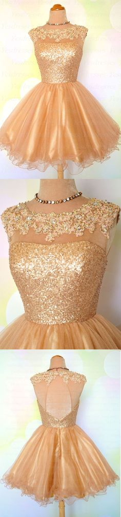 Uhc0068, Lovely gold short homecomng dress, graduation dress, open back, high neck, a-line, tulle, short prom dress