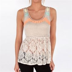 Jolt Juniors Knit Tank with Lace Hem #VonMaur