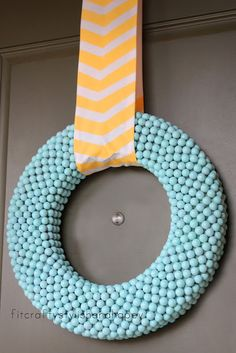Fit, Crafty, Stylish and Happy: My wreath for Easter and Spring Gum ball wreath! Wreath Crafts, Diy Wreath, Diy Crafts, Wreath Ideas, Candy Wreath, Fabric Wreath, Wreath Hanger, Wreath Making, Decor Crafts