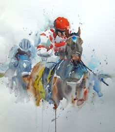 "Saatchi Online Artist: Roger Simpson; Watercolor, 2012, Painting ""Horse racing"""