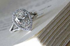 """Yes, we create """"vintage"""" looks, as well. Here's a J ALBRECHT original with a split shank and a beautiful pear shaped diamond. Pear Shaped Diamond Ring, Pear Shaped Engagement Rings, Unique Diamond Rings, Diamond Engagement Rings, Pear Diamond, Halo Diamond, Pear Wedding Ring, Wedding Rings, Pretty Rings"""