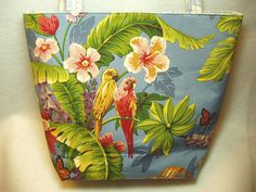 Large Tropical Parrot Tote Bag or Purse in Soft Blue by BagsOfaFeather https://www.etsy.com/listing/206795569/large-tropical-parrot-tote-bag-or-purse?
