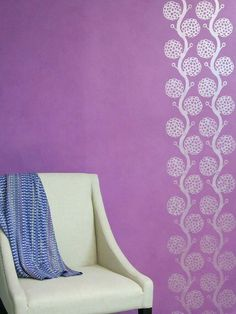 Stenciled Lilac Purple Wall With Pearl White Metallic Paint By Modern  Masters