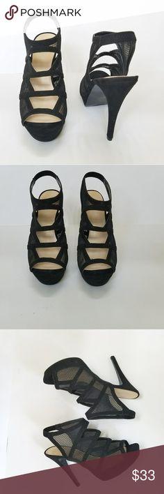 "Nine West Caged Suede Platform Heels Nine West Caged Suede Platform Heels size 8. EUC. It has a minor mark on one of the heels (see pic) Open toe  Mesh and suede material. Heel heigth 5"" Platform heigth1"" Nine West Shoes Heels"