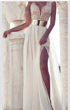 Dress: maxi lace metal gold belt slit leg white lace white long sexy sparkles
