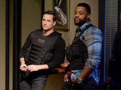 """Jesse Lee Soffer Photos Photos - Actors Jesse Lee Soffer and Laroyce Hawkins perform an on set demonstration of """"Chicago P.D."""" during the press junket for NBC's 'Chicago Fire', 'Chicago P.D.' and 'Chicago Med' at Cinespace Chicago Film Studios on November 9, 2015 in Chicago, Illinois. - NBC's 'Chicago Fire', 'Chicago P.D.' and 'Chicago Med' - Press Junket"""