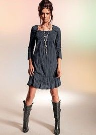 gray dress and necklace and hair and boots
