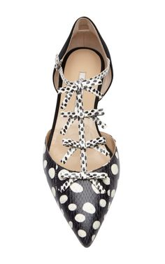 Evelyn Snakeskin and Suede Mary Jane Flats by Oscar de la Renta | cynthia reccord