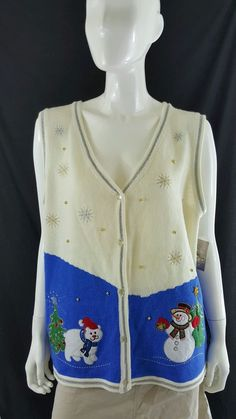 White Stag Ugly Holiday Christmas Snowman Bear Vest Sweater Plus Size 20 (XXL) #WhiteStag #VestSleeveless