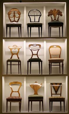 Awesome Biedermeier chairs. I want them all, especially the top middle and right