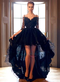 black off shoulder half long sleeve high low lace prom evening dress
