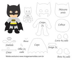 Molde Personagem - Batman - Molde para Feltro - EVA e Artesanato, Molde Personagem - Batman - Molde para EVA - Feltro e Artesanato, Heróis Felt Patterns Free, Felt Doll Patterns, Felt Animal Patterns, Felt Crafts Patterns, Stuffed Animal Patterns, Crochet Blanket Patterns, Fabric Doll Pattern, Fabric Dolls, Diy With Kids