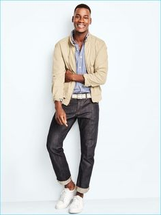 Gap's Harrington jacket is front and center for a casual everyday look, complemented by denim jeans.